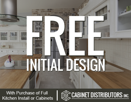 Free Initial Design, with purchase of full kitchen install or cabinets